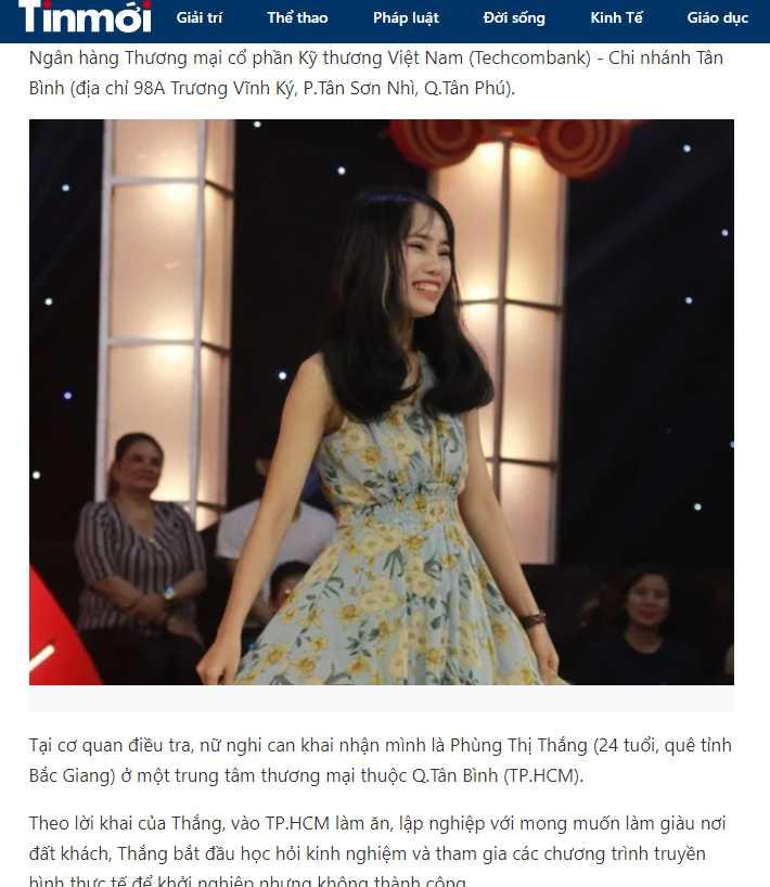 越南一名24歲網紅竟然於10日時戴上口罩搶銀行。(圖/翻攝自TinMoi.vn)