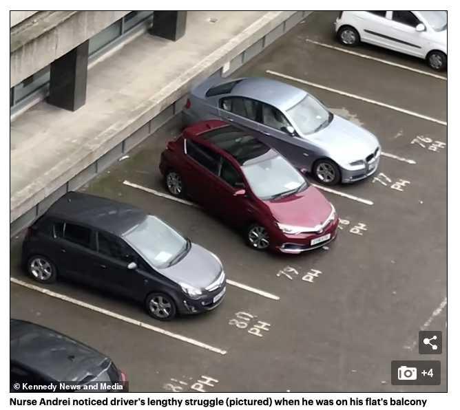 英國一名司機竟花了8分鐘才停好車,被網友戲稱最糟糕駕駛。(圖/翻攝自Mail Online)