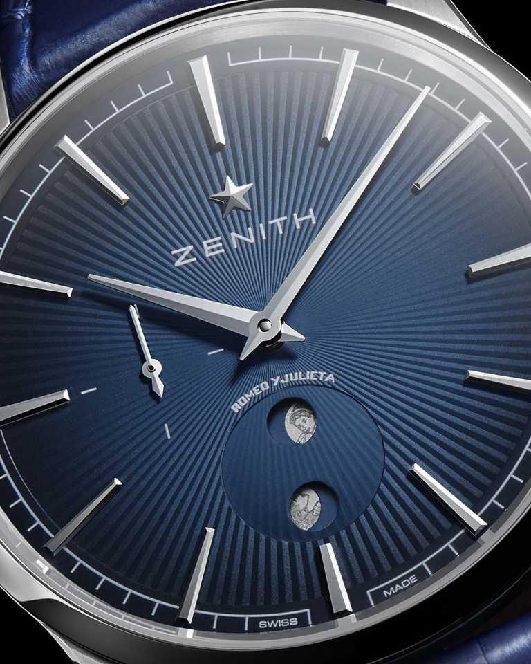 午夜藍漸變帶太陽紋飾錶盤,刻有羅密歐與茱麗葉品牌印記頭像的月亮。(圖╱ZENITH提供)