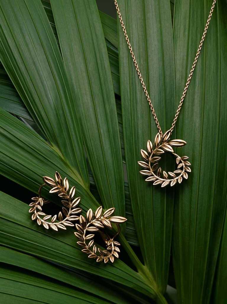 CHOPARD「Palme Verte系列」公平採礦認證18K黃金項鍊、鍊墜、耳環╱價格店洽。(圖╱CHOPARD提供)