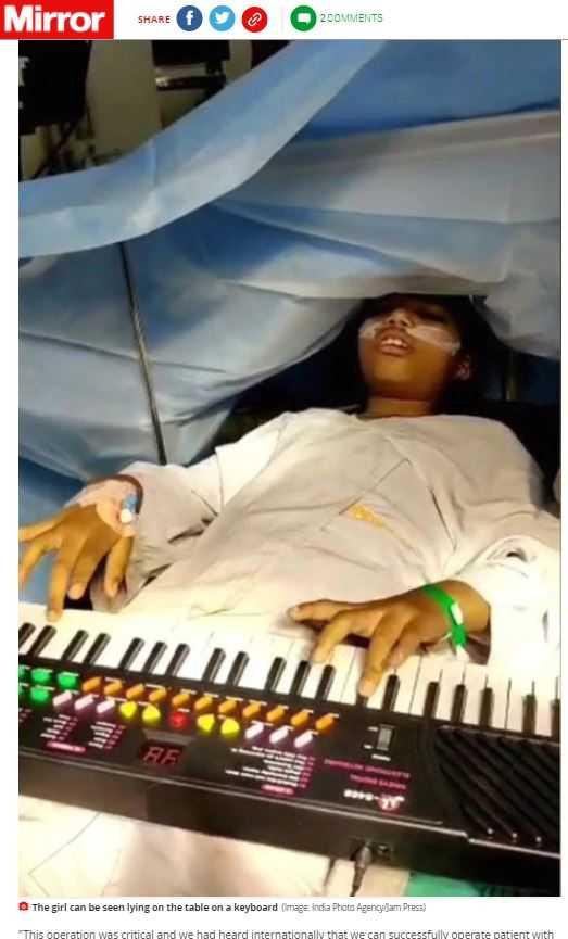 9歲女童清醒著進行開顱手術切除腦部腫瘤。(圖/翻攝自Mirror)