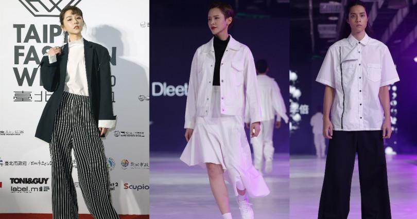 邵雨薇的這套造型是混搭了臺灣設計師品牌Shen Yao與Dleet的服裝,最簡單的黑白元素可說是萬年不敗!(圖/2019臺北時裝週SS20策展單位提供)