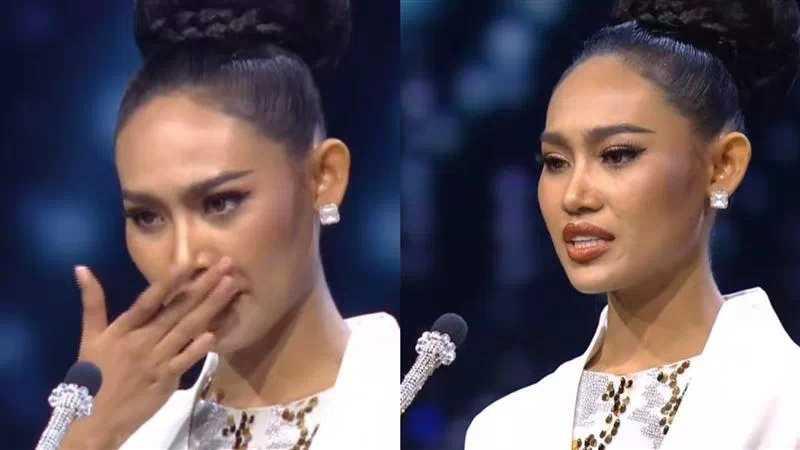 韓蕾在演講過程頻頻拭淚。(圖/翻攝自Miss Grand International)