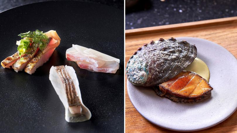 ▲左:醃漬土魠魚、鰹魚搭屏東醬油大頭菜。右:官田菱角、台灣鮑魚佐香油烏醋。(圖/Chefs Club Taipei)