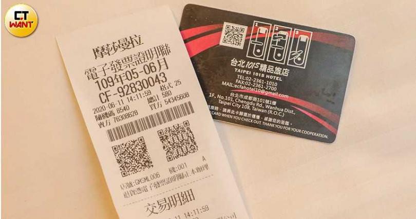 愛客發如今開的發票店家名稱是「摩莎曼拉」,旅館執照和消防安檢書上卻仍是徐豪雄的名字。(圖/張文玠攝)