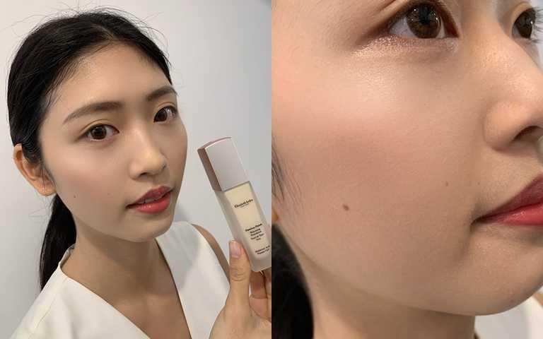 自己看!這樣的微霧光感妝效,是不是很適合台灣女生的混合性膚質。(圖/吳雅鈴攝影)