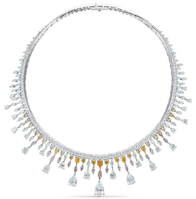 DE BEERS「Reflections of Nature」系列高級珠寶,Motlatse Marvel鑽石項鍊,鑽石總重66.04克拉。(圖╱DE BEERS提供)