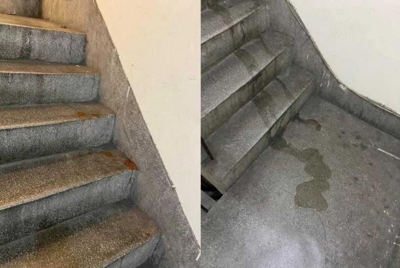 有民眾控訴外送員在樓梯間便溺、吐檳榔汁。(圖/翻攝自「爆料公社(官方粉專專屬)」臉書)