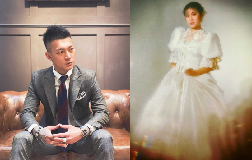 網紅鳳梨笑稱母親的婚紗照神似電影角色「安納貝爾」。(圖/翻攝自吳泓逸臉書)