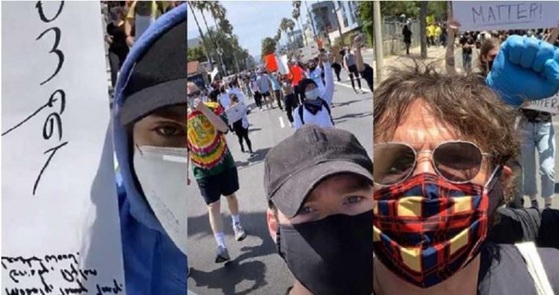 堤摩西柴勒梅德、理查麥登、佩德羅帕斯卡上街聲援佛洛伊德之死。(圖/IG)