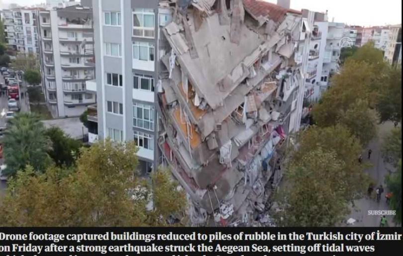 土耳其強震使得多棟大樓坍塌。(圖/翻攝自衛報)
