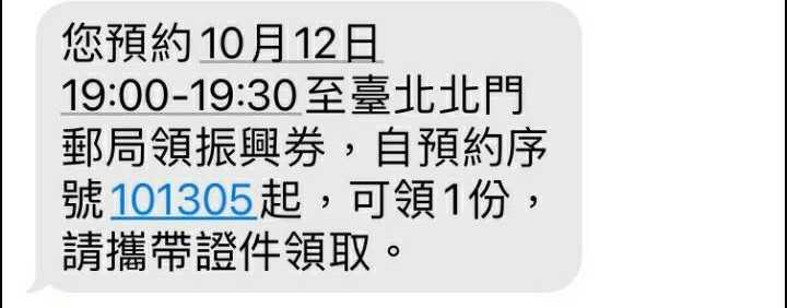 民眾前往郵局領取振興五倍券前,會先收到一封提醒的簡訊通知。(圖/中華郵政提供)