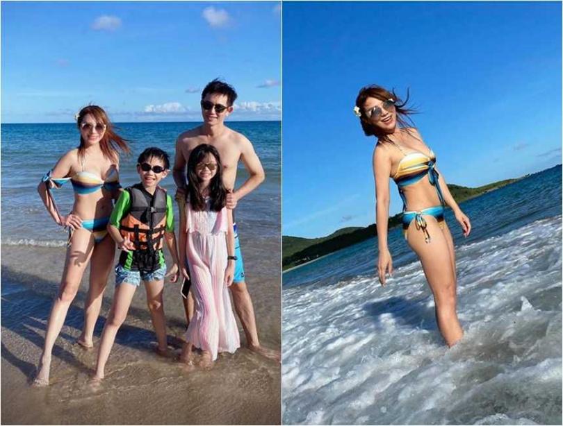 在演藝圈有「台灣好媳婦」稱號的女星佩甄,最近與老公小孩到海邊度假,解放好身材。(圖/翻攝臉書)