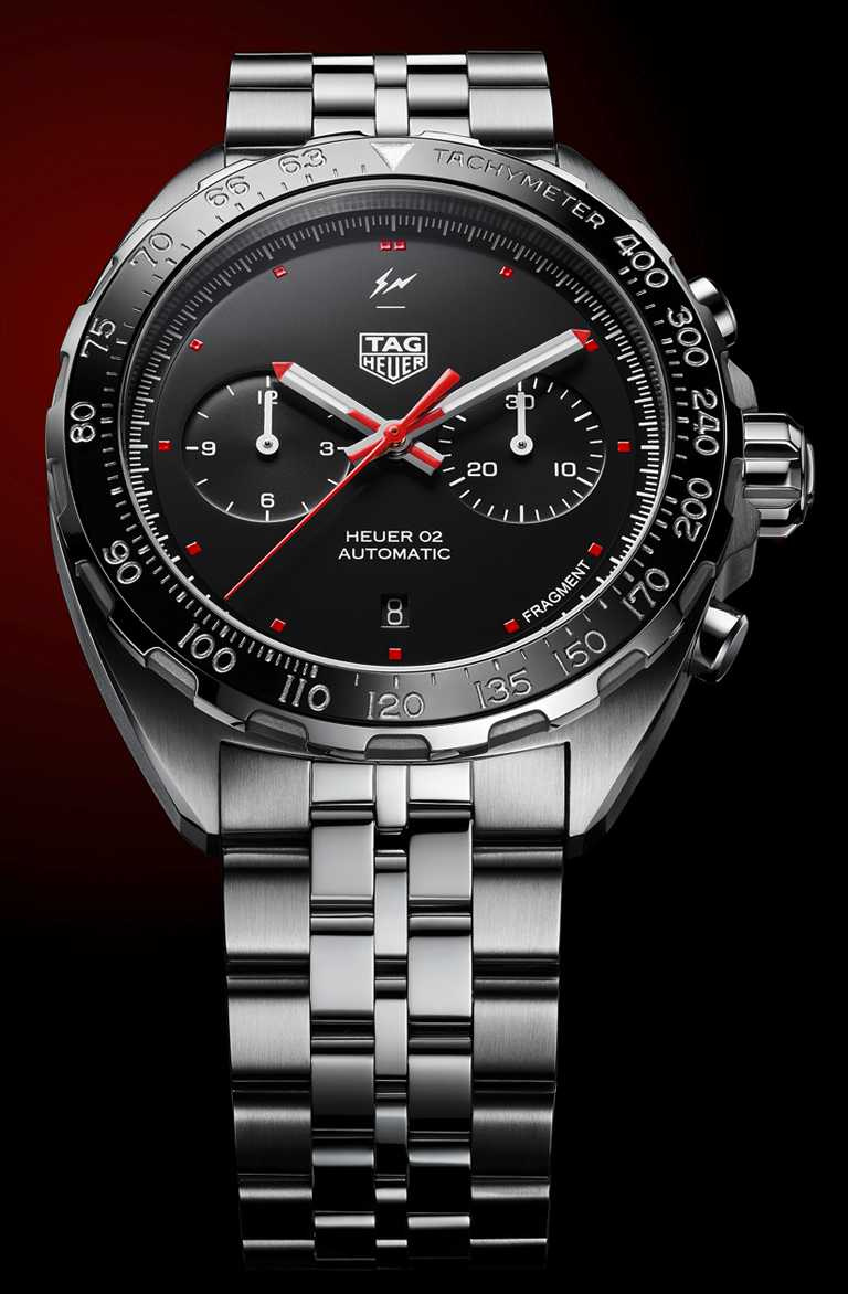 TAG HEUER「TAG HEUER X Fragment Design」聯名計時腕錶,Zalium鋯合金錶殼,44mm,限量500只╱201,900元。(圖╱TAG HEUER提供)
