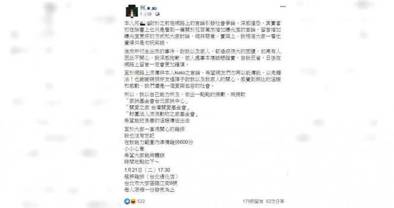 何姓男子今在個人臉書發文,指1月21日請吃600份雞排。(圖/翻攝畫面)