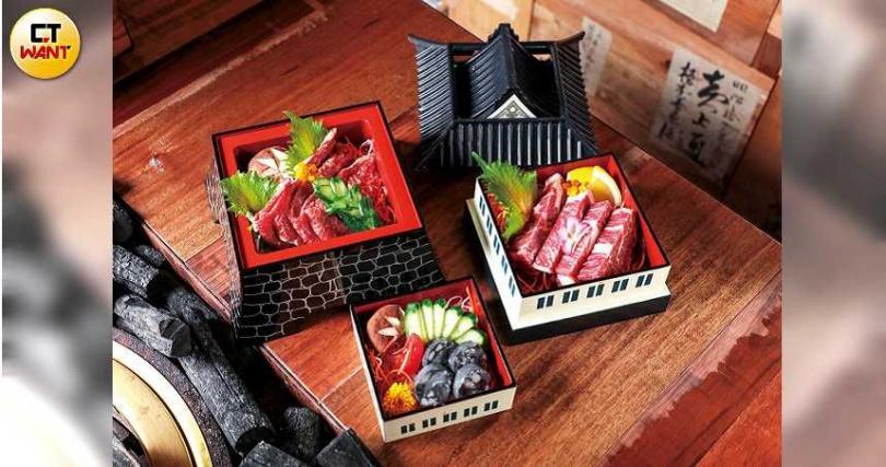 「大阪城」創意擺盤,層層裝載著胡同燒肉的各式招牌肉品。(圖/馬景平攝)