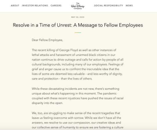 迪士尼CEO發布公開信。(圖/翻攝自迪士尼官網)
