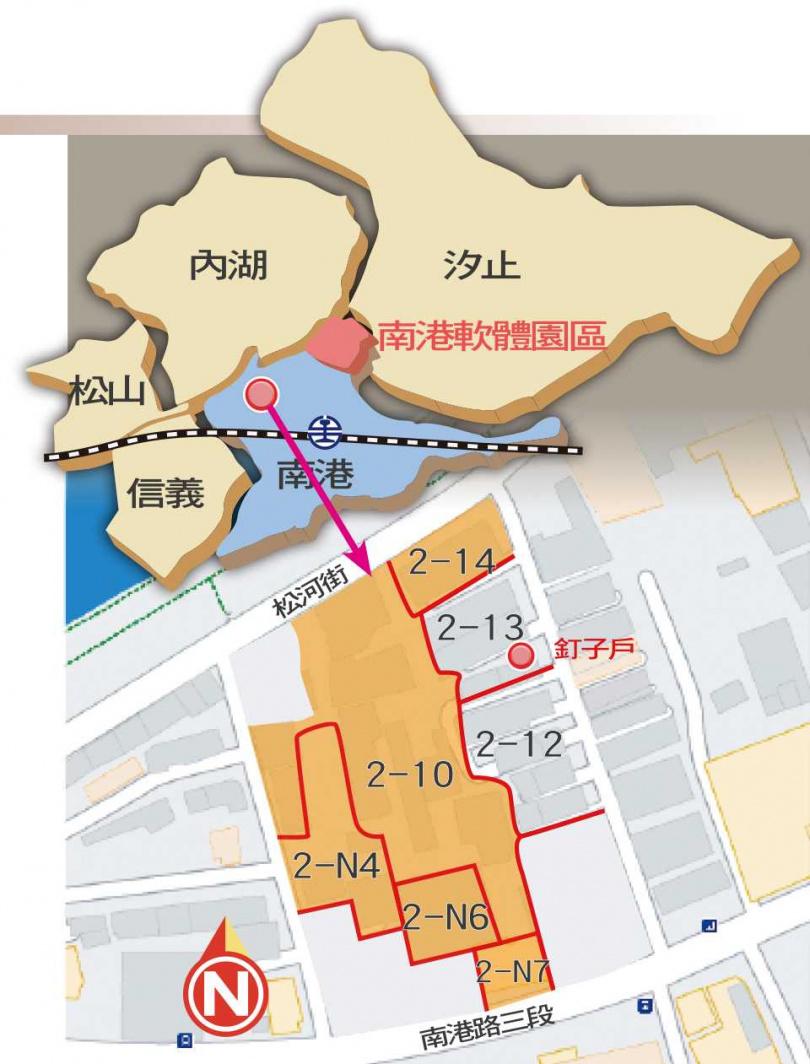 南港產專區2-13單元期盼能與國賓大建設廠辦案(圖中橘色部分)合建,但北市都發局卻要居民調整單元劃分前,先徵詢2-12單元是否接受釘子戶。(圖/本刊繪圖組)