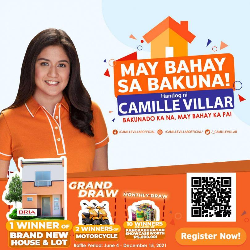 菲律賓女議員維拉爾自掏腰包,說服做房地產的父親拿出一棟房子來抽獎,吸引民眾趕快接種疫苗。(圖/翻攝自推特)