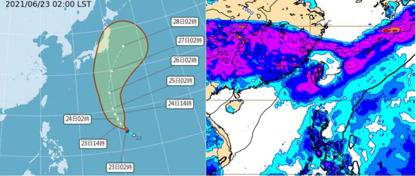 今(23日)晨2時中央氣象局「路徑潛勢預測圖」顯示,熱帶低壓今日將發展成第5號颱風「薔琵」,逐漸向北迴轉(左),併入「梅雨鋒」,對台無影響。最新(22日20時)歐洲(ECMWF)模式,模擬29日20時地面氣壓及雨量圖顯示,「西南季風」影響,迎風面中南部有明顯降雨(右)。(圖/翻攝自「三立準氣象· 老大洩天機」專欄)
