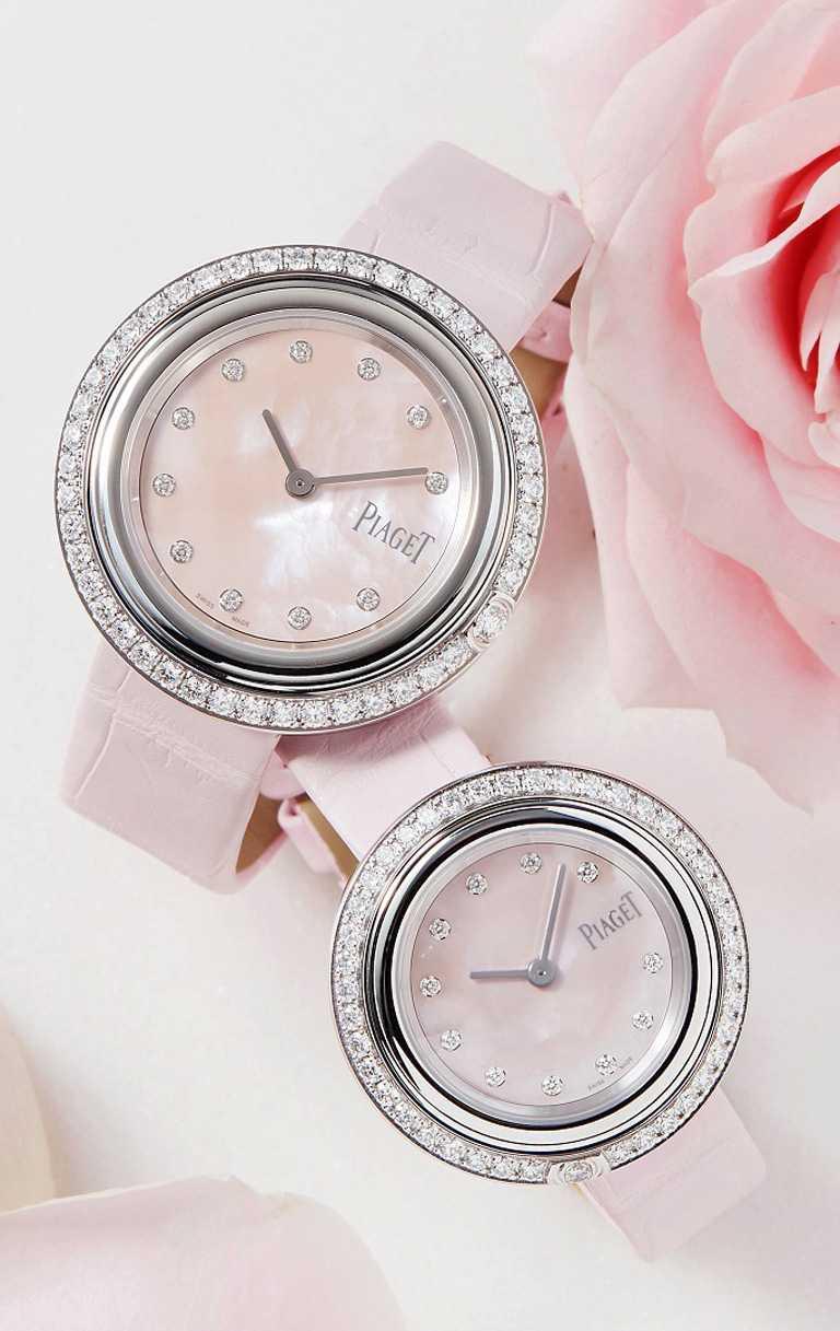 PIAGET「Possession系列」18K白金粉紅珍珠母貝錶盤鑽石腕錶╱(上)34mm,錶圈鑽石46顆╱625,000元;(下)29mm,錶圈鑽石42顆╱510,000元。(圖╱PIAGET提供)
