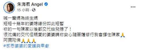 (圖/翻攝自朱海君 Angel臉書)