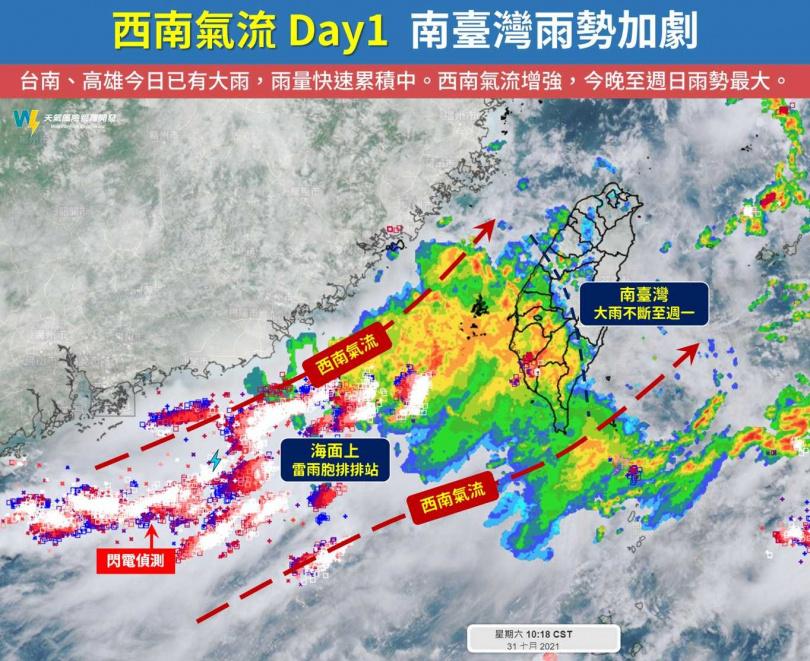 天氣風險公司指出,預計從今下半天開始,至周一(8月2日)上半天,是這波西南氣流影響的高峰期。(圖/翻攝自臉書/天氣風險 WeatherRisk)