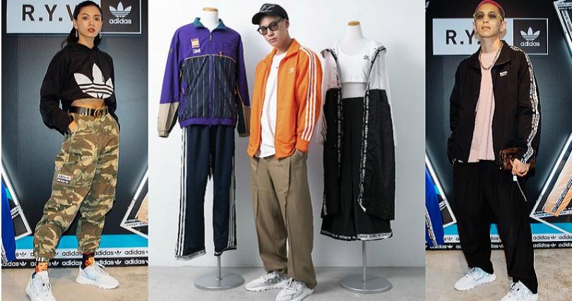 時尚潮模郭源元、新銳服裝設計師Will Lee、潮流金童楊艾倫示範R.Y.V串標服裝與NITE JOGGER鞋款。(圖/adidas Originals提供)
