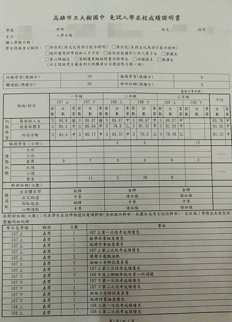 該學生的免試入學成績證明一。(圖/翻攝爆料公社)