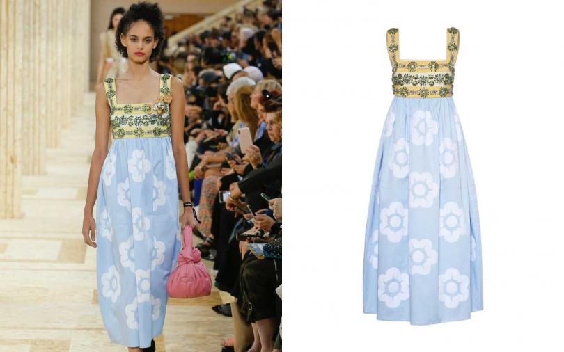 帶有華麗的縫綴花朵,讓夏日涼鞋搭配也毫不失禮。MIU MIU 綴飾棉緞連身裙/209,500元(圖/品牌提供)