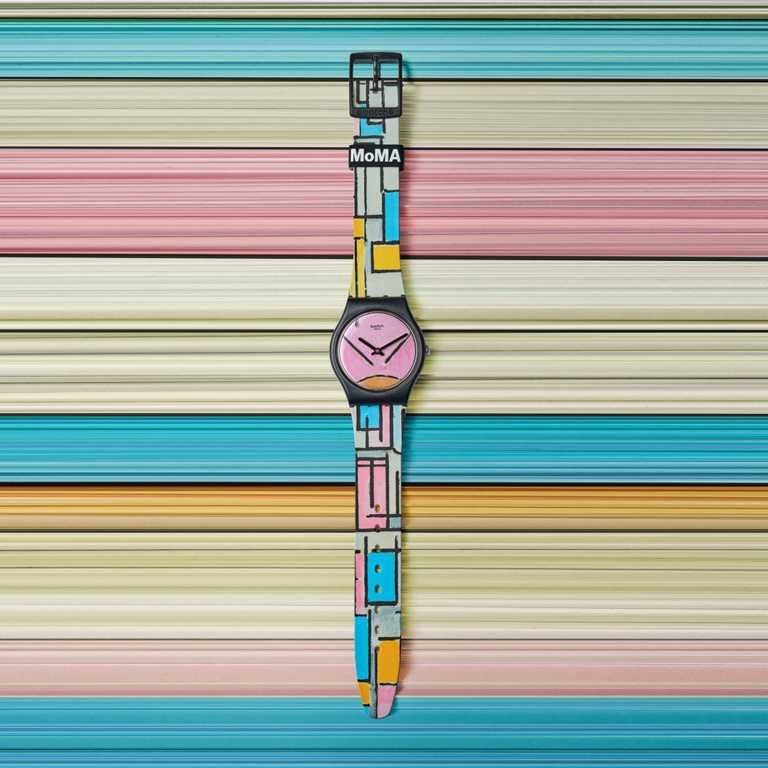 swatch x MoMA特別版腕錶,蒙德里安《橢圓形的彩色平板》╱2,500元。(圖╱swatch提供)