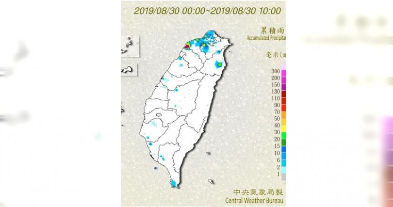 上午北台灣皆有零星降雨,桃園新屋區則有150毫米的降雨量。(圖/擷取自中央氣象局)