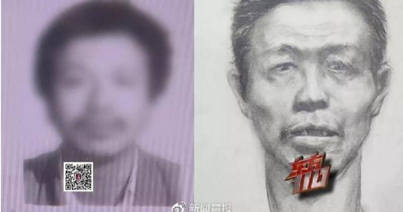 美術老師畫出的遺體還元素描,與張男神似。(圖/新聞晨報微博)