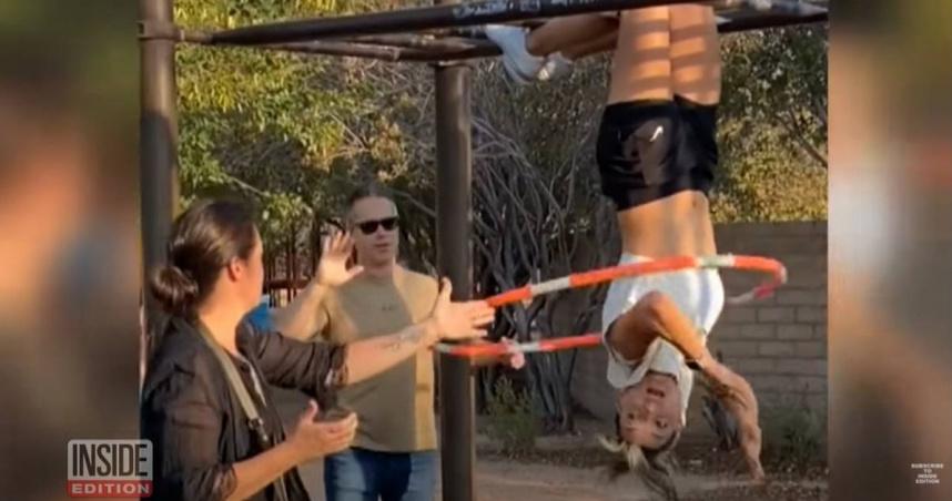 「呼拉圈金氏紀錄」保持人 公園倒吊露「雪白胸罩」扭動…遭轟下流氣炸