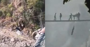 玩命拍片!男零裝備懸掛「20公尺吊橋」…下秒墜落河谷慘死