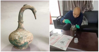 超罕見!河南出土「鵝首曲頸」青銅壺 竟裝3000ml「黃褐色液體」