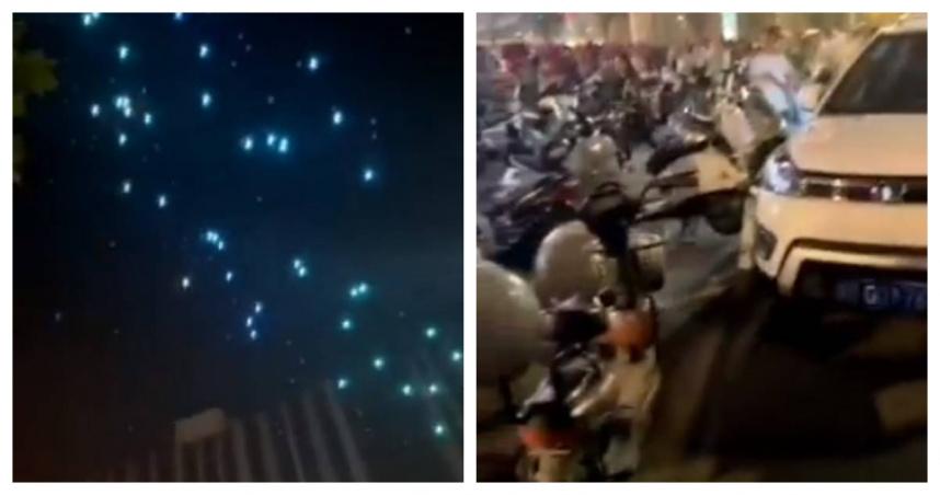 五千人「十一國慶」看燈光秀 無人機下秒如流星雨墜落