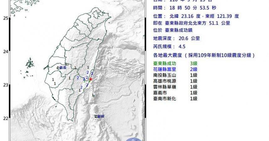 地牛翻身!台東18:50規模4.5有感地震 最大震度3級