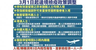 3月起「半開國門」!外國人可「8小時內轉機」、 短期商務來台可縮居家檢疫