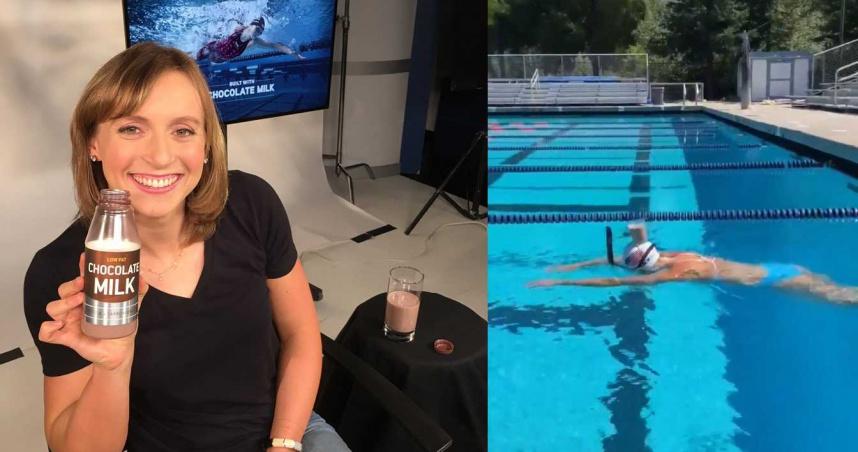 美奧運金牌游泳女將「頭頂牛奶橫越泳池」!36秒抵達終點竟一滴未灑