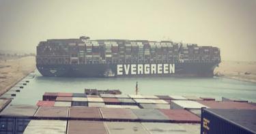 長榮超大型貨輪橫卡蘇伊士運河 國際貿易要道塞船了