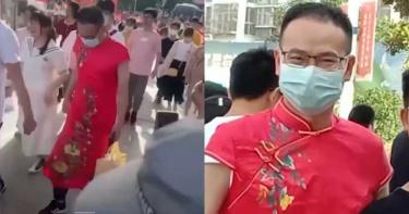 為實踐諾言 江蘇男老師身穿「大紅旗袍」現身考場幫學生祈福