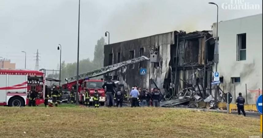 義大利爆飛機失事意外 撞上米蘭辦公大樓機上人員全數罹難