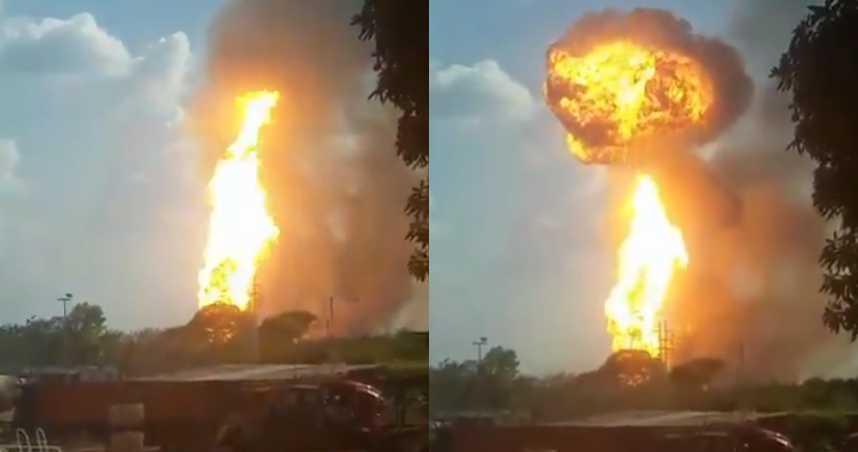 橘黃火球直衝天際!委內瑞拉疑遭恐怖攻擊 天然氣廠突大爆炸