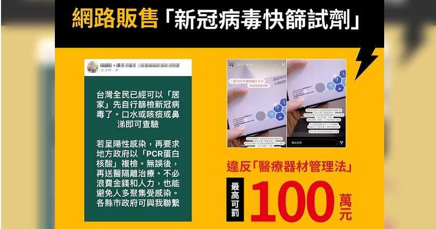 網路販售「新冠病毒快篩試劑」 指揮中心:已觸法