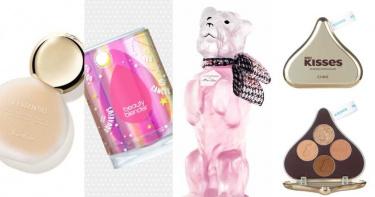 最高顏值美妝就是它們!有狗狗造型香水、小燈泡霧感粉底、還有HERSHEY'S KISSES的巧克力包裝彩妝報到!