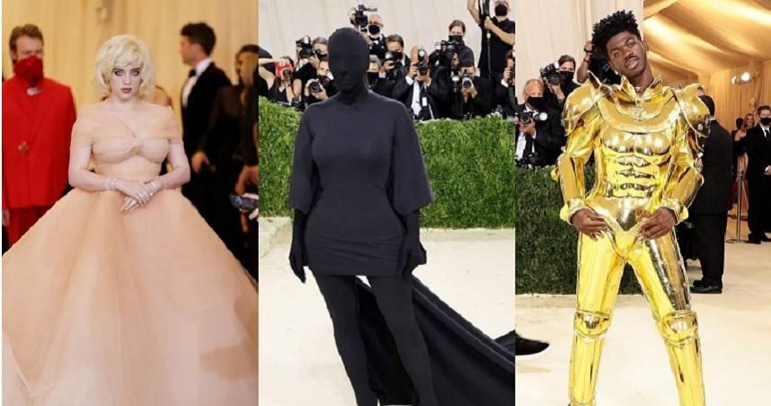 不愧是最浮誇的紅毯!金・卡戴珊蒙面扮無臉男、怪奇比莉夢幻粉色澎裙現身「時尚奧斯卡」Met Gala 2021