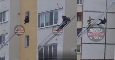 男子8樓窗台跳上雲梯車 卻意外翻出軌道吊掛高空