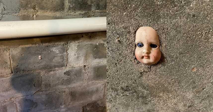 新家地下室驚見「詭異娃娃頭」鑲在牆上 網嚇瘋:拿聖水來撒!