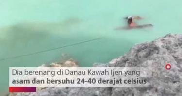 跳40度高溫火山口湖!他為救26年好友 全身泡在「超酸腐蝕水」狂游